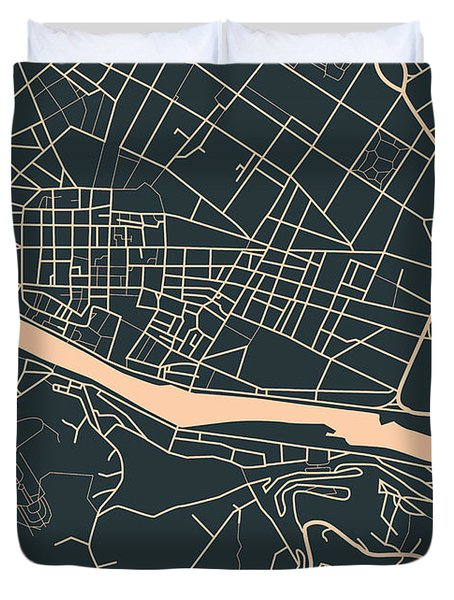 Map Of Florence Duvet Cover