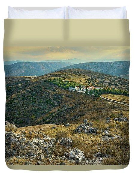 Monastery Agion Anargiron Above Argos Duvet Cover