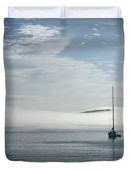 Morning Mist On Frenchman's Bay Duvet Cover