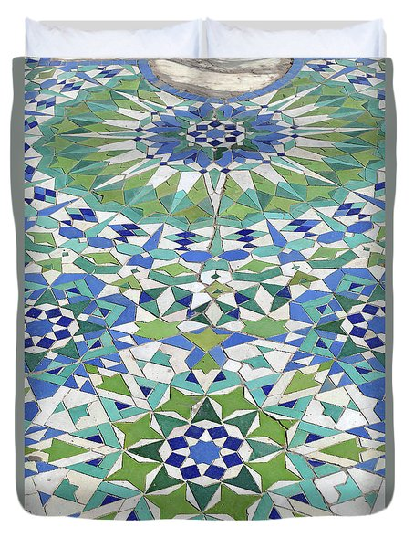 Mosaic Exterior Decorations Of The Hassan II Mosque Duvet Cover