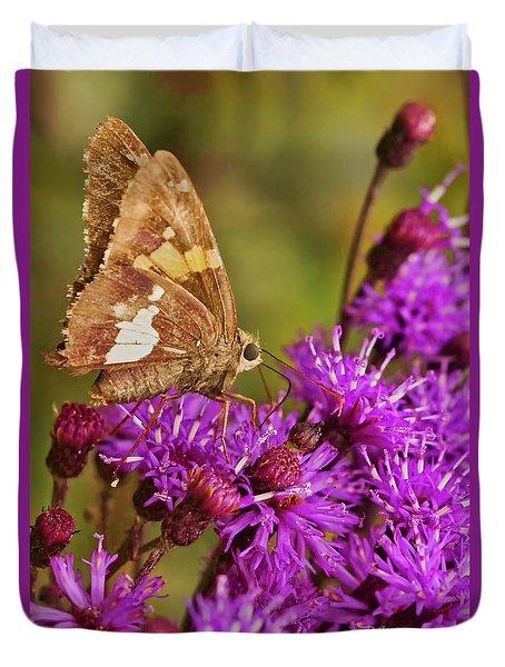 Moth On Purple Flowers Duvet Cover