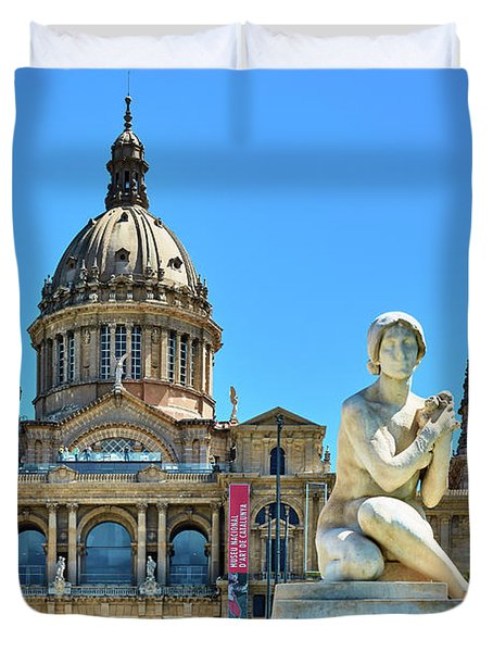 Duvet Cover featuring the photograph National Art Museum In Barcelona by Eduardo Jose Accorinti