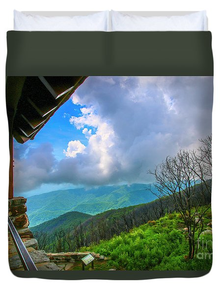 Duvet Cover featuring the photograph Observation Tower View by Tom Claud
