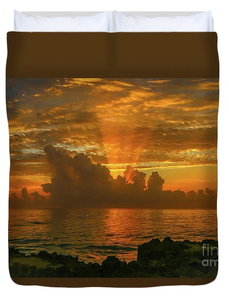 Duvet Cover featuring the photograph Orange Sun Rays by Tom Claud
