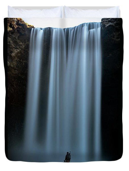 Duvet Cover featuring the photograph Amongst Giants Skogafoss Iceland by Nathan Bush