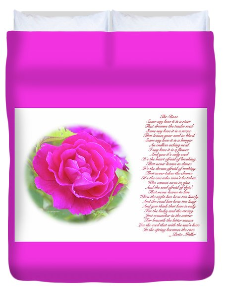 Pink Rose And Song Lyrics Duvet Cover