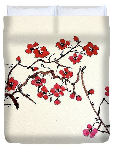 Duvet Cover featuring the painting Plum Blossoms by Margaret Welsh Willowsilk