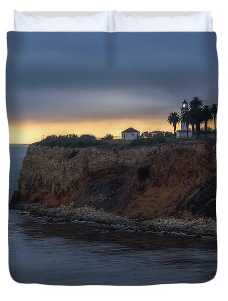 Point Vicente Lighthouse At Sunset Duvet Cover
