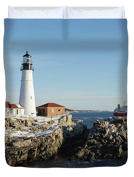 Duvet Cover featuring the photograph Portland Head Light - Cape Elizabeth, Maine by Erin Paul Donovan