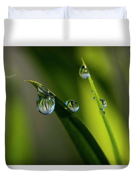 Rain Drops On Grass Duvet Cover