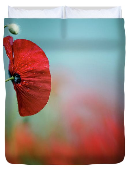 Red Corn Poppy Flowers Duvet Cover