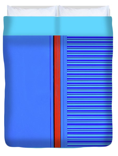 Blue With Red Stripe Duvet Cover