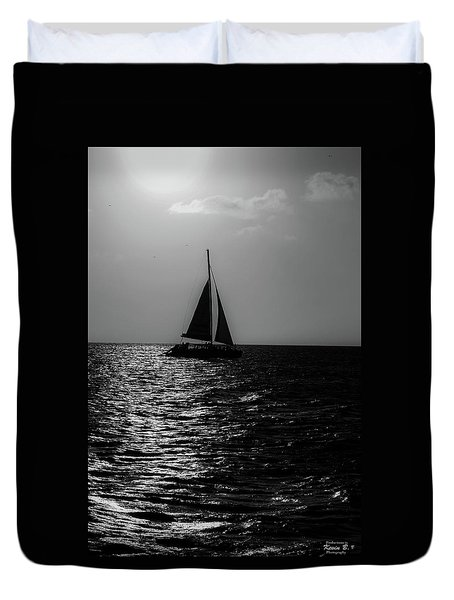 Sailing Into The Sunset Black And White Duvet Cover