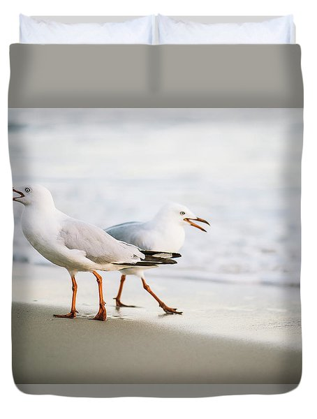 Duvet Cover featuring the photograph Seagulls On The Beach. by Rob D