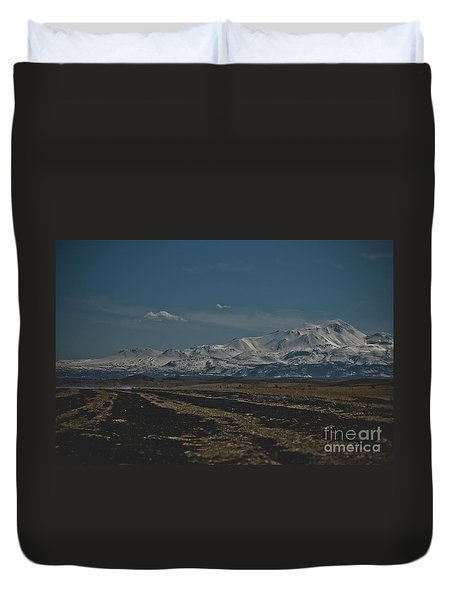 Snow-covered Mountains In The Turkish Region Of Capaddocia. Duvet Cover