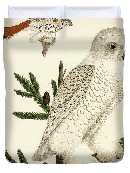 1. Snow Owl. 2. Male Sparrow-hawk. Duvet Cover
