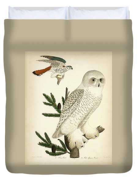 1. Snow Owl. 2. Male Sparrow-hawk. Duvet Cover