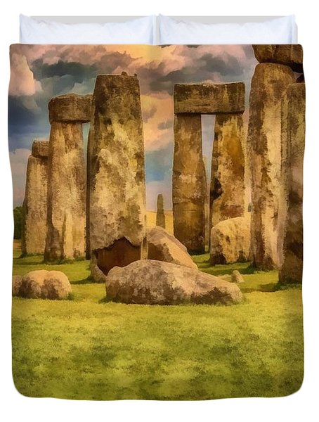 Duvet Cover featuring the painting Stonehenge by Harry Warrick