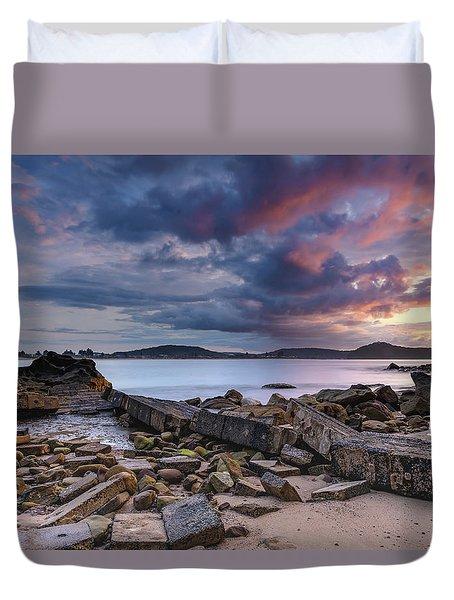 Stormy Sunrise Seascape Duvet Cover