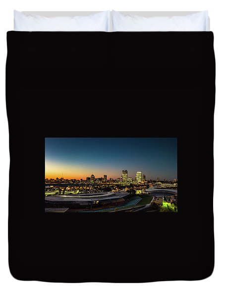 Duvet Cover featuring the photograph Summerfest Sunset by Randy Scherkenbach