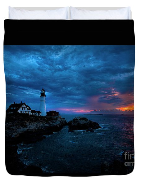 Sunrise At Portland Head Light Duvet Cover