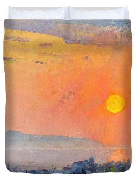 Sunrise Over Dilesi Athens  Duvet Cover