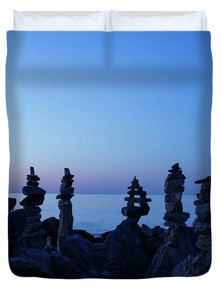 Duvet Cover featuring the photograph Sunrise - Rye, New Hampshire by Erin Paul Donovan