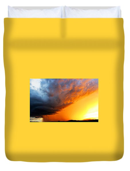 Duvet Cover featuring the photograph Sunset Storm by Candice Trimble