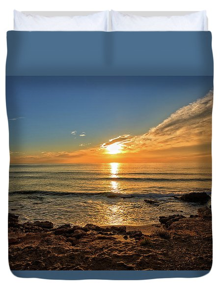 The Calm Sea In A Very Cloudy Sunset Duvet Cover