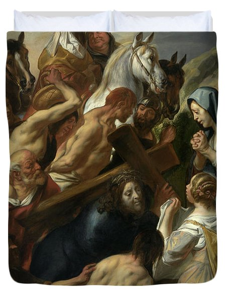 The Carrying Of The Cross, 1657 Duvet Cover