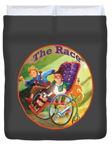 Duvet Cover featuring the painting The Race by Donna Hall