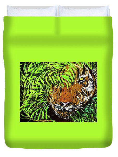 Tiger In Bamboo Duvet Cover