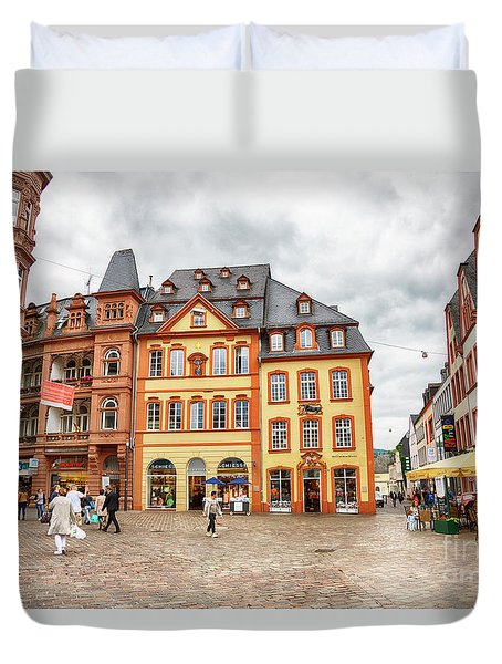 Duvet Cover featuring the photograph Trier, Germany,  People By Market Day by Ariadna De Raadt