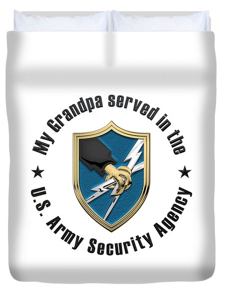 U. S.  Army Security Agency -  A S A  Patch Over White Leather Duvet Cover