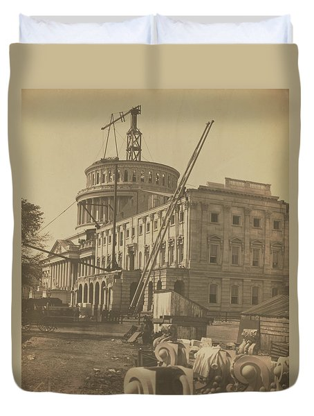 United States Capitol Under Construction Duvet Cover