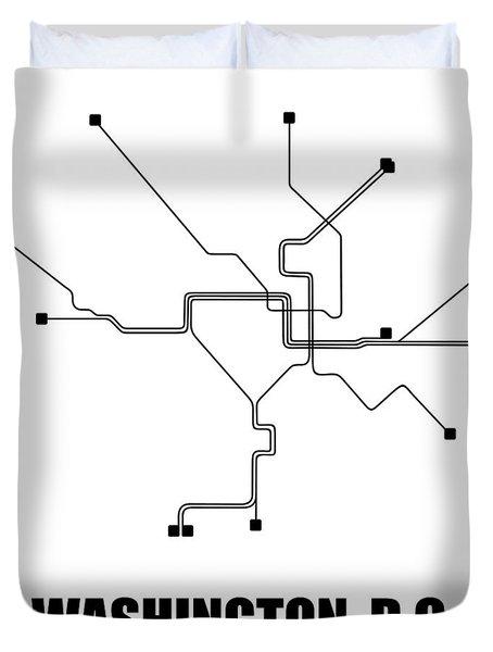 Washington, D.c. White Subway Map Duvet Cover