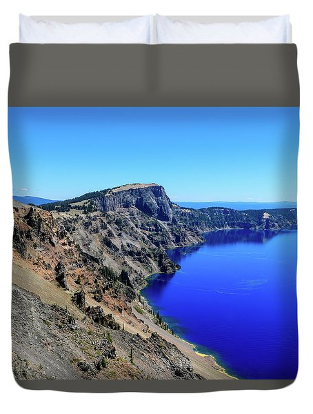 Duvet Cover featuring the photograph West Rim Of Crater Lake by Dawn Richards