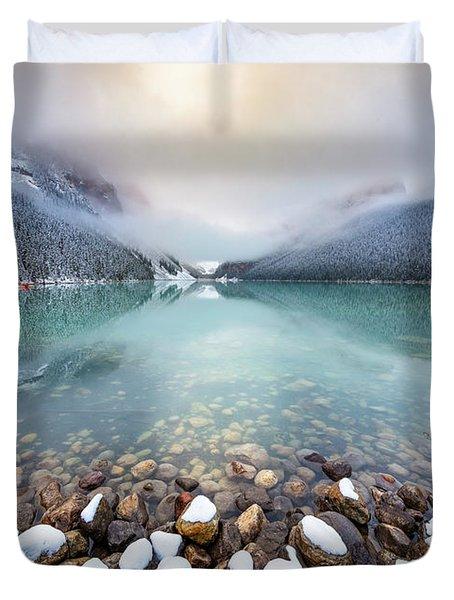 Winter Morning At Lake Louise Duvet Cover