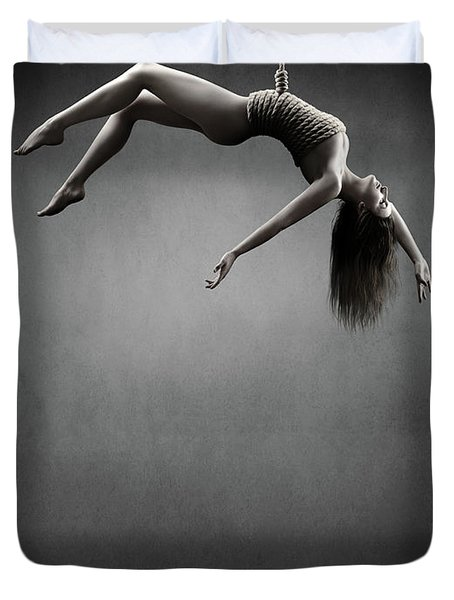 Woman Hanging On A Rope Duvet Cover