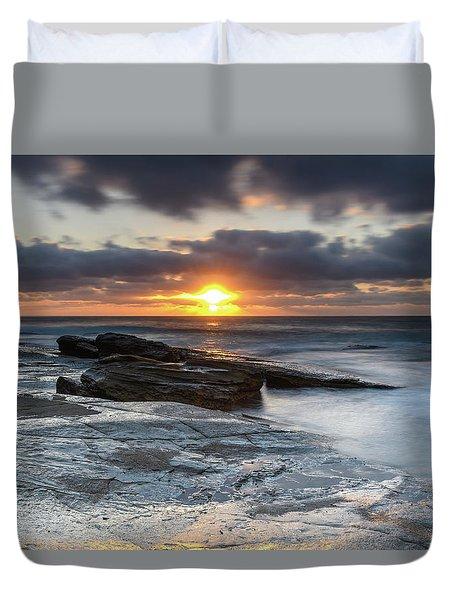 A Moody Sunrise Seascape Duvet Cover