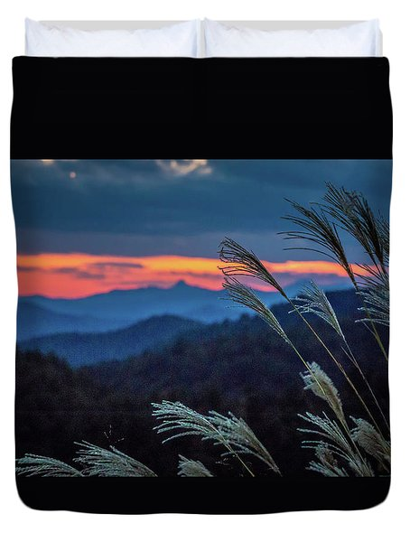 Duvet Cover featuring the photograph Sunset Over Peaks On Blue Ridge Mountains Layers Range by Alex Grichenko