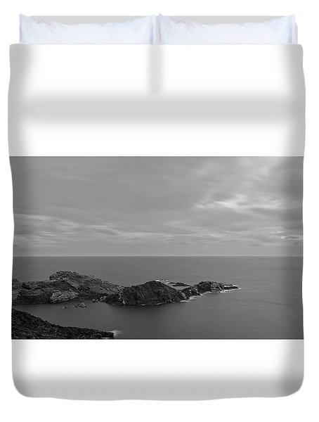 Dawn In Black And White In The Cap De Creus Duvet Cover