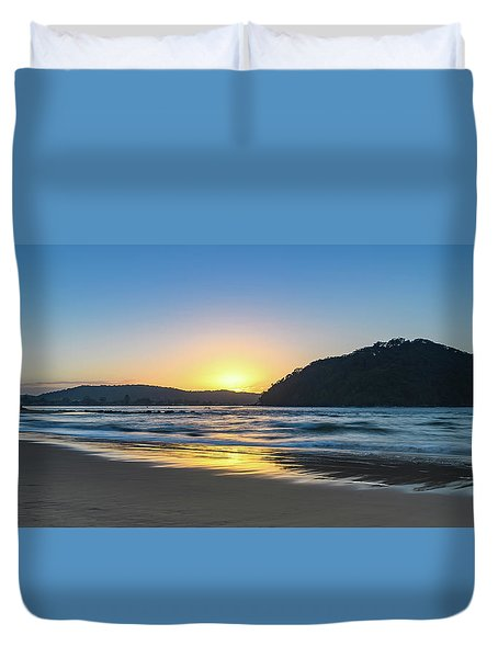 Hazy Sunrise Seascape Duvet Cover