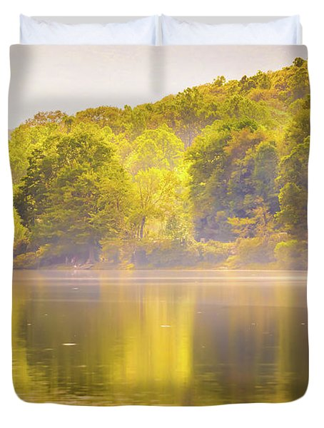 Duvet Cover featuring the photograph Julian Price Lake, Along The Blue Ridge Parkway In North Carolin by Alex Grichenko