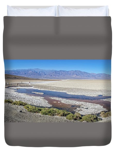 Duvet Cover featuring the photograph Badwater Basin Death Valley National Park California by Alex Grichenko