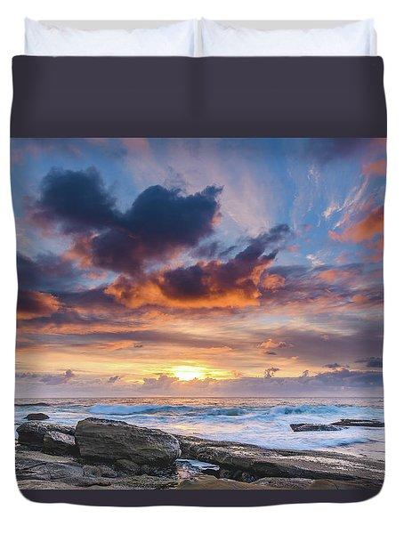An Atmospheric Sunrise Seascape Duvet Cover