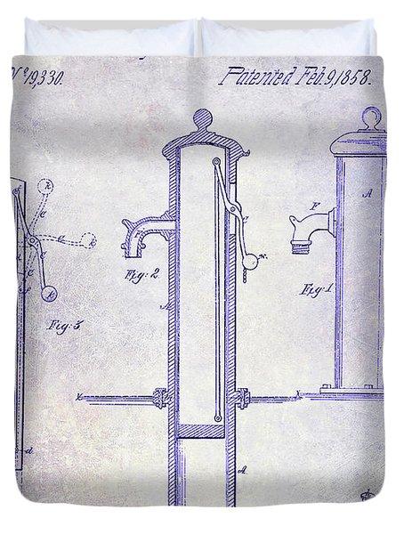 1858 Fire Hydrant Blueprint Duvet Cover
