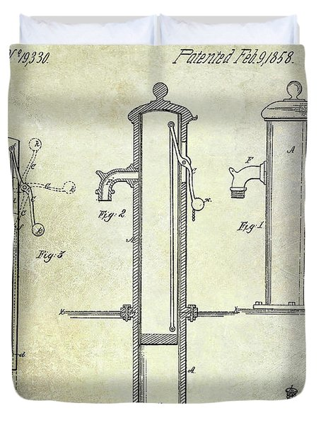 1858 Fire Hydrant Patent Duvet Cover