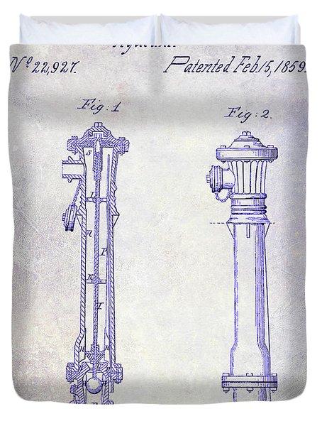 1859 Fire Hydrant Patent Blueprint Duvet Cover