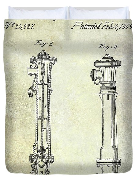 1859 Fire Hydrant Patent Duvet Cover